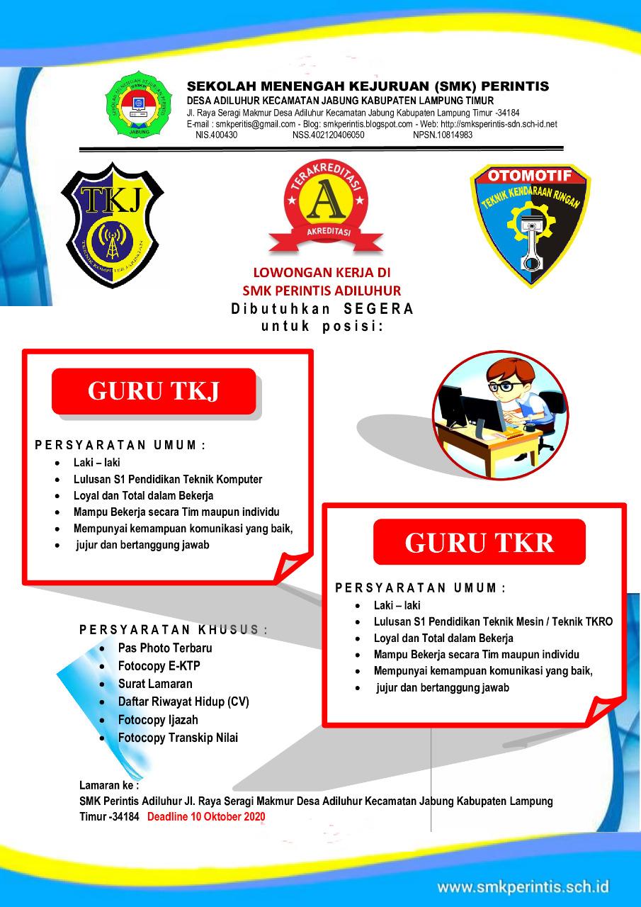 Loker terbaru SMK Perintis Adiluhur 2020